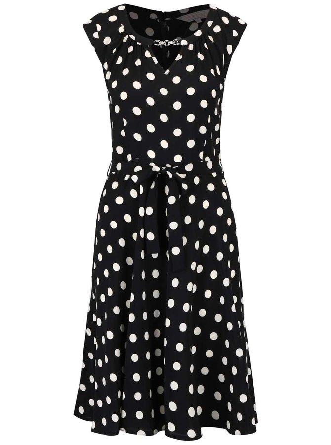 Černé šaty s bílými puntíky a ozdobou Dorothy Perkins