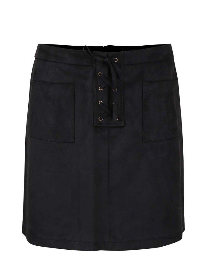 Černá sukně v semišové úpravě se šněrováním Dorothy Perkins