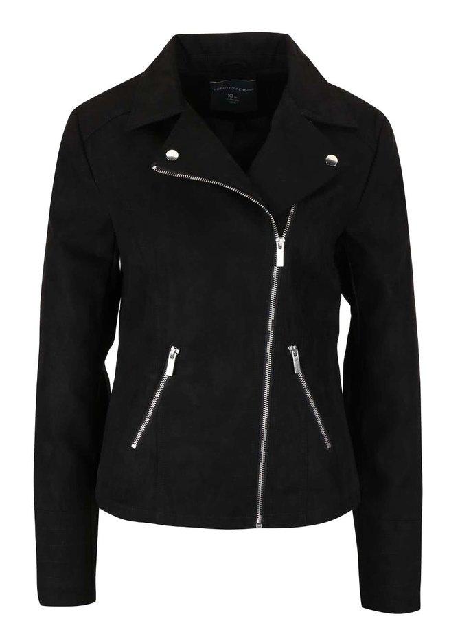 Čierna koženková bunda v semišovej úprave Dorothy Perkins