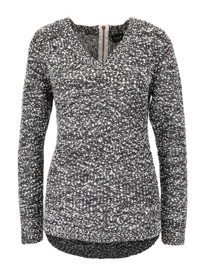 Tmavosivý melírovaný sveter so zipsom na chrbte VILA