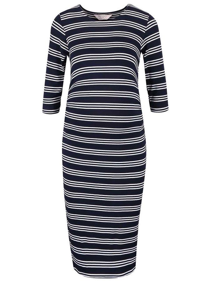 Bielo-modré tehotenské šaty s pruhmi Dorothy Perkins Maternity