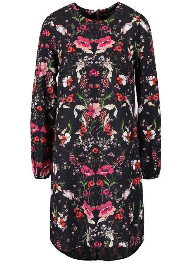 Čierne kvetinové šaty s dlhým rukávom Dorothy Perkins