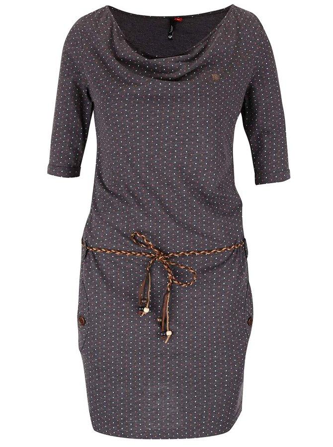 Tmavě šedé šaty s puntíky a páskem Ragwear Tanya Dots