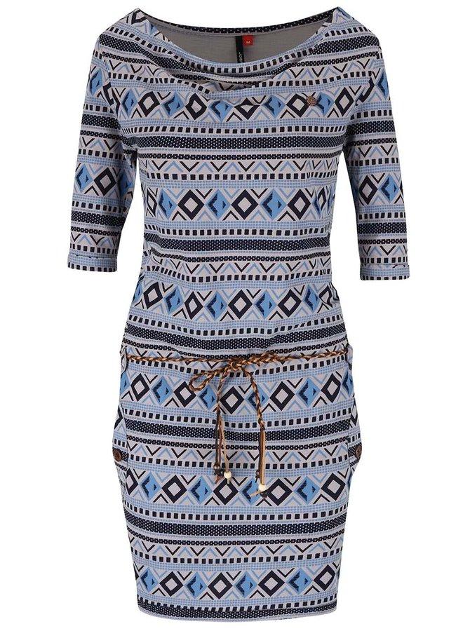 Modro-šedé vzorované šaty s páskem Ragwear Tanya Inka