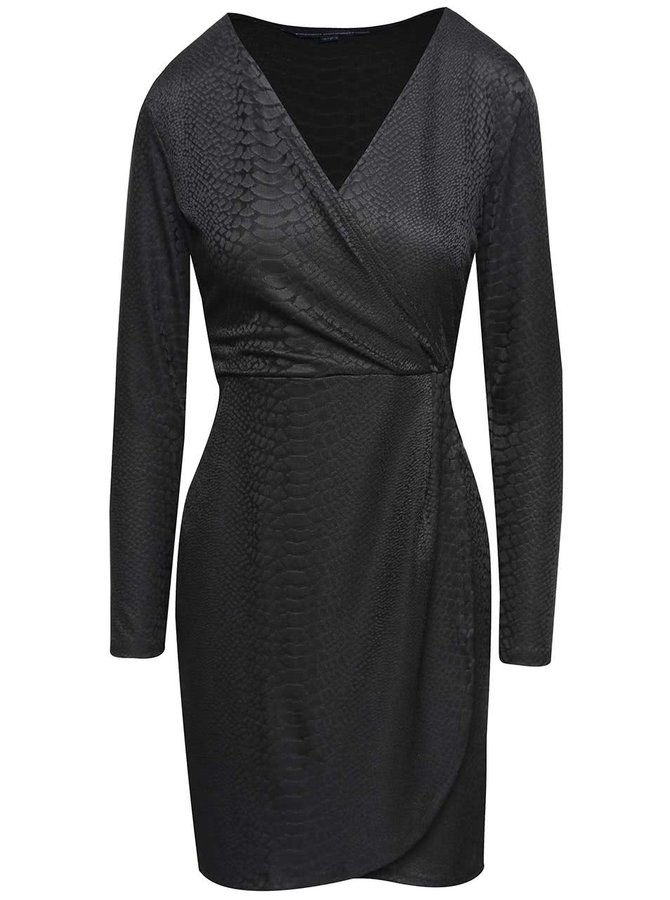 Rochie neagră French Connection Snake cu model