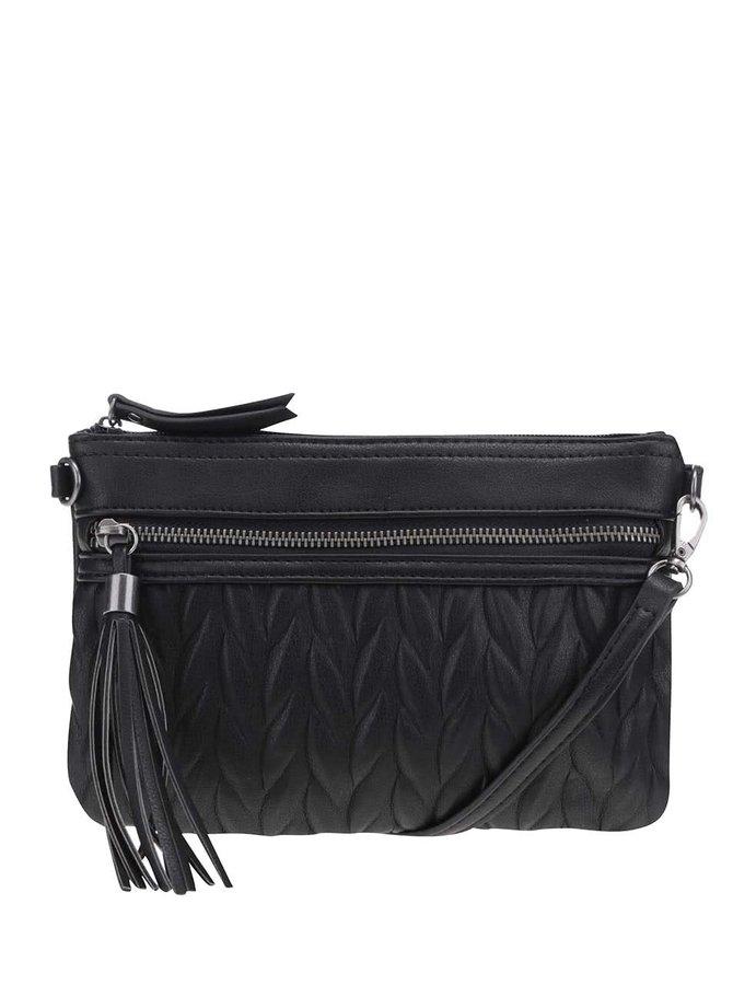 Čierna menšia crossbody kabelka so strapcom Pieces Peyton