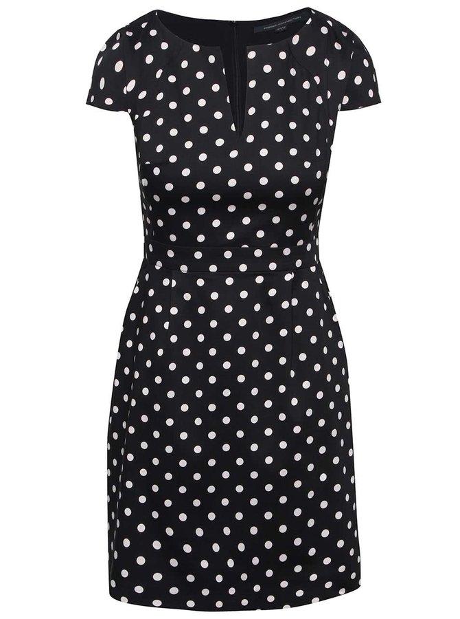 Čierne šaty s bodkami French Connection Dotty