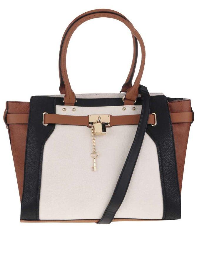 Hnedo-krémová kabelka s príveskom ALDO Bogard