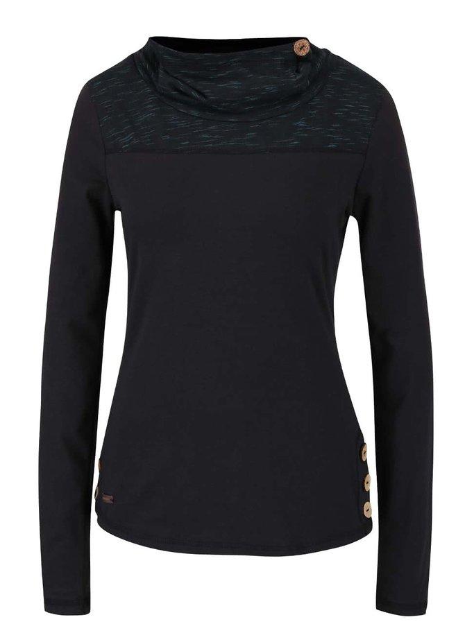 Tyrkysovo-černé dámské tričko s límcem a dlouhým rukávem Ragwear Willow