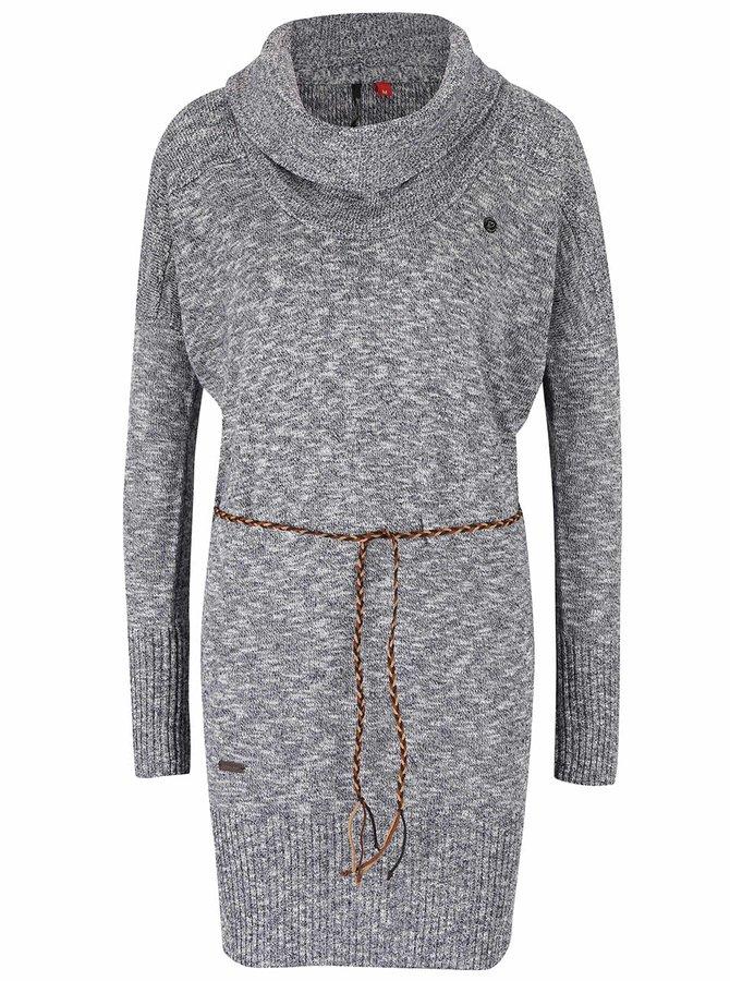 Tmavosivý dámsky melírovaný dlhý úpletový sveter s opaskom Ragwear Port