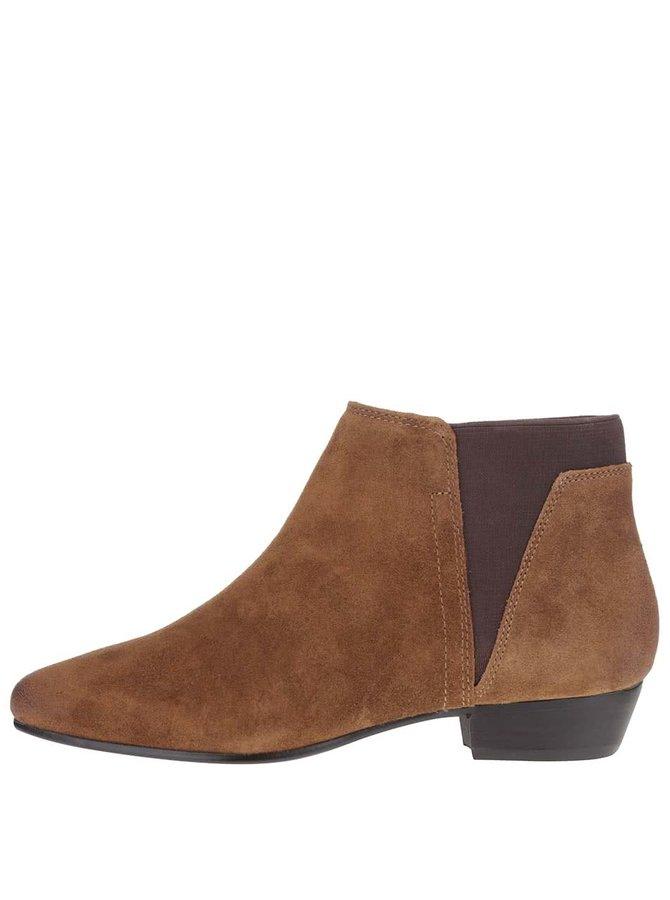 Hnědé dámské semišové kotníkové boty ALDO Siman