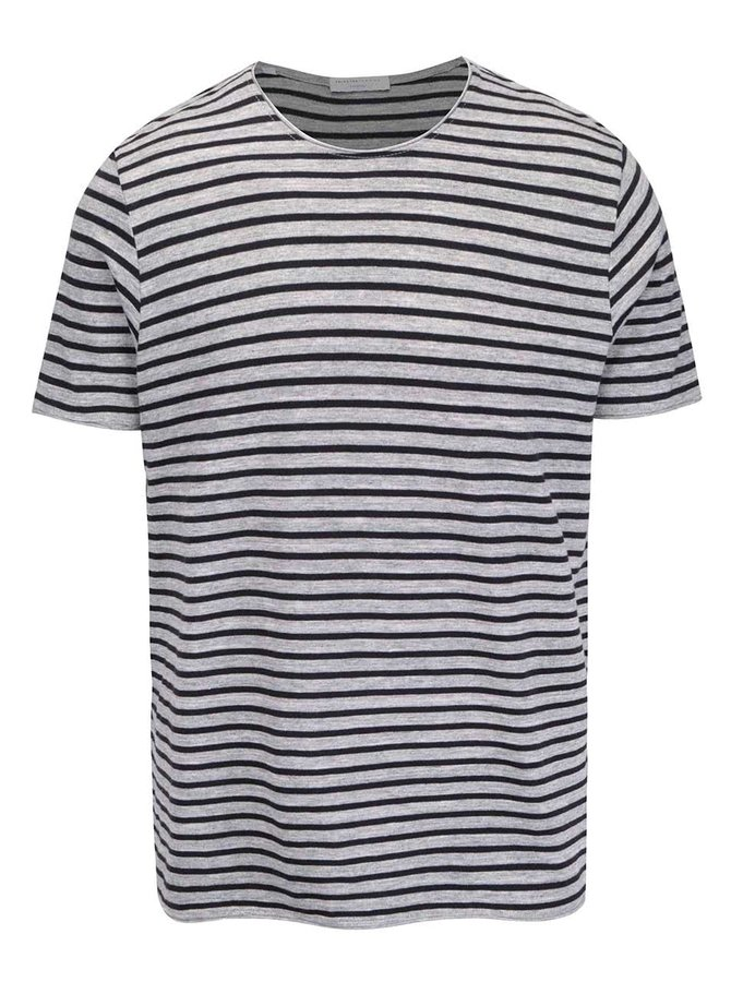 Tricou gri Selected Homme Monet cu model în dungi