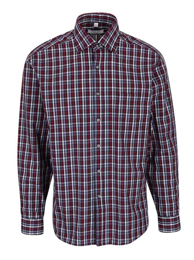 Modro-vínová kockovaná pánska košeľa Seven Seas