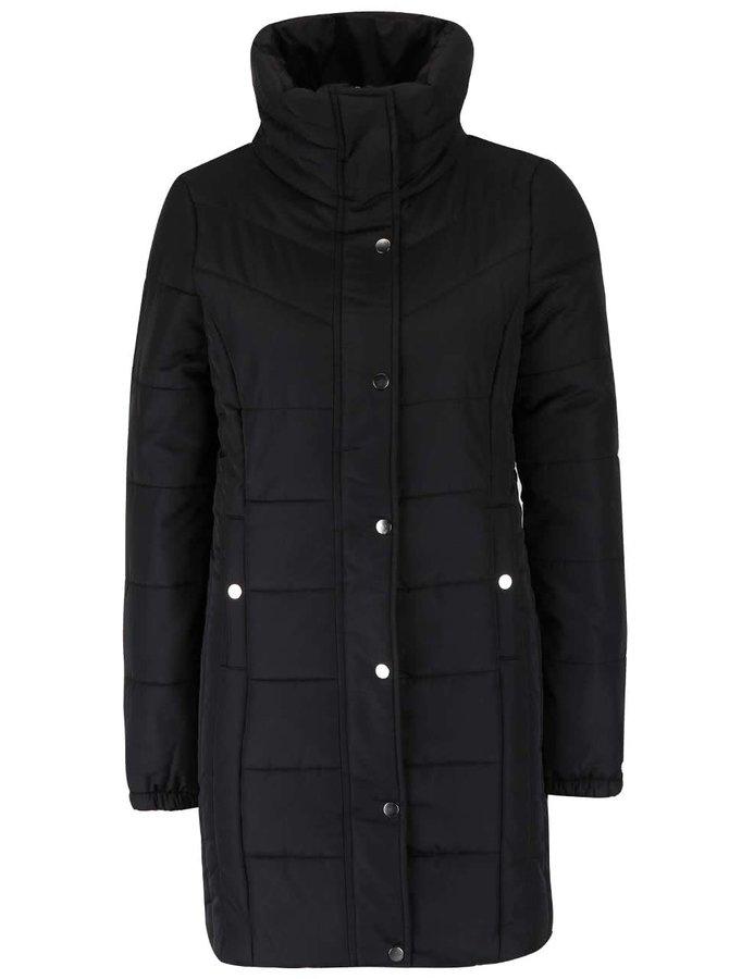 Čierny dlhý prešívaný kabát s vysokým golierom Vero Moda Papette