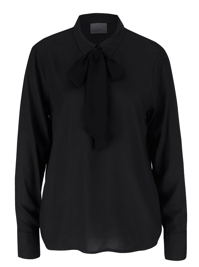 Černá halenka s mašlí Vero Moda Harly
