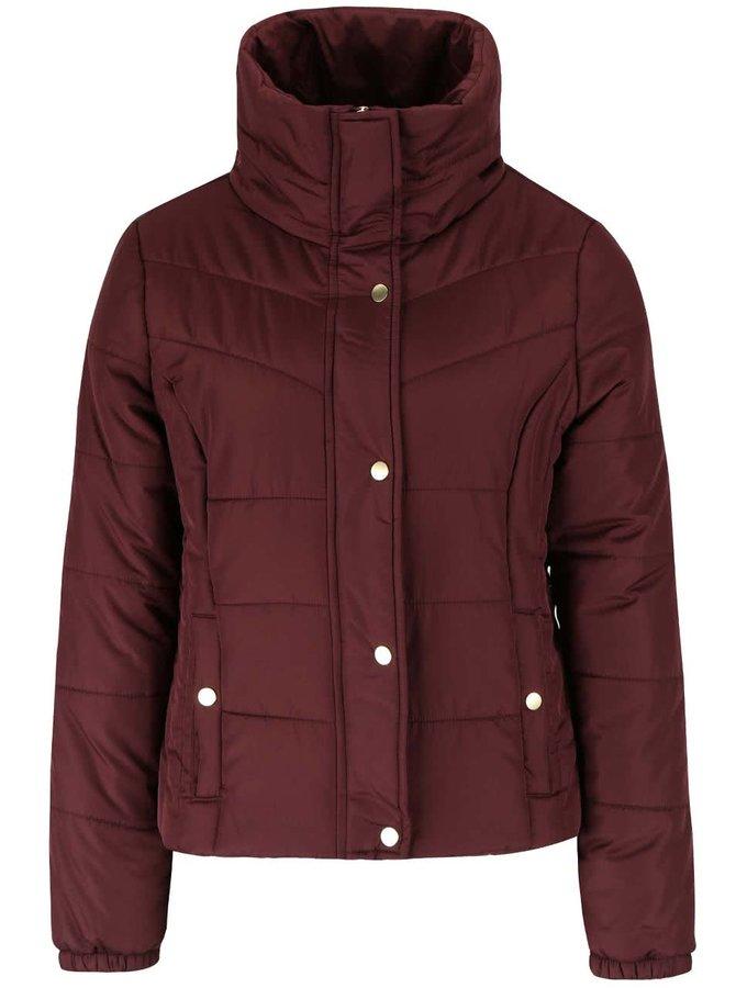 Vínová prošívaná bunda s vysokým límcem Vero Moda Papette