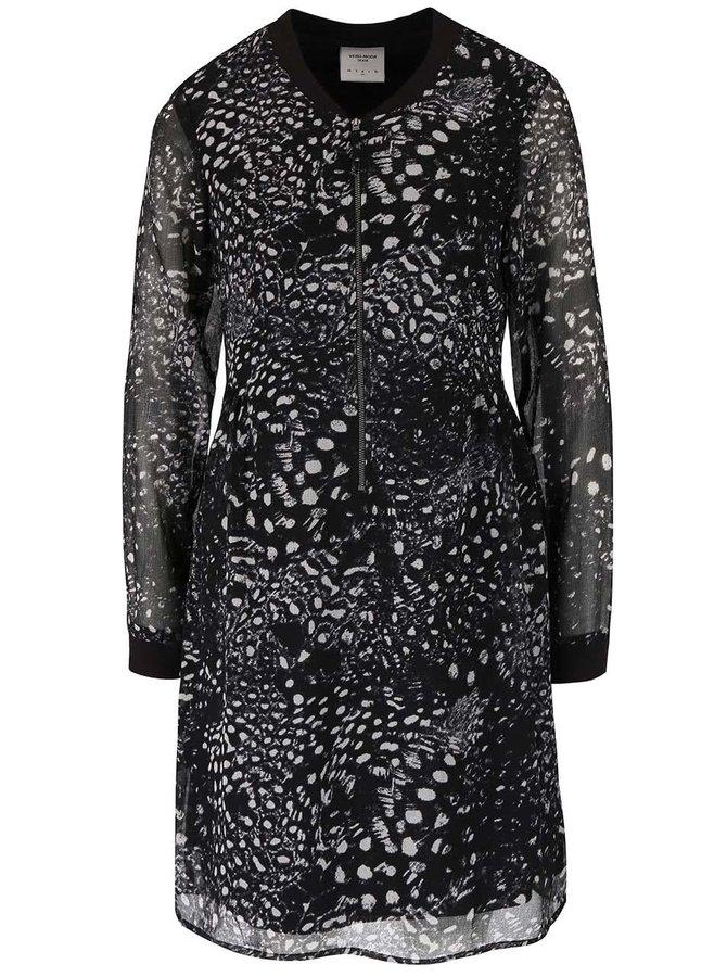 Čierne vzorované voľnejšie šaty VERO MODA Tea