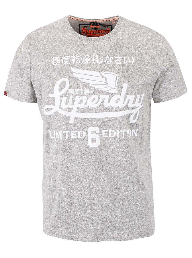 Tricou gri deschis Superdry cu print text