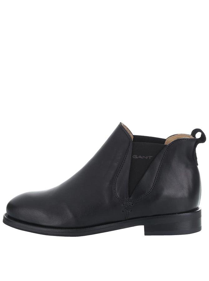 Čierne dámske kožené členkové topánky GANT Avery