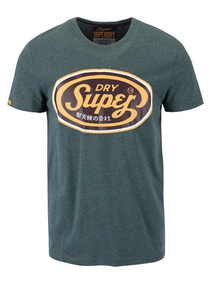 Zelené pánské triko s hnědým potiskem Superdry