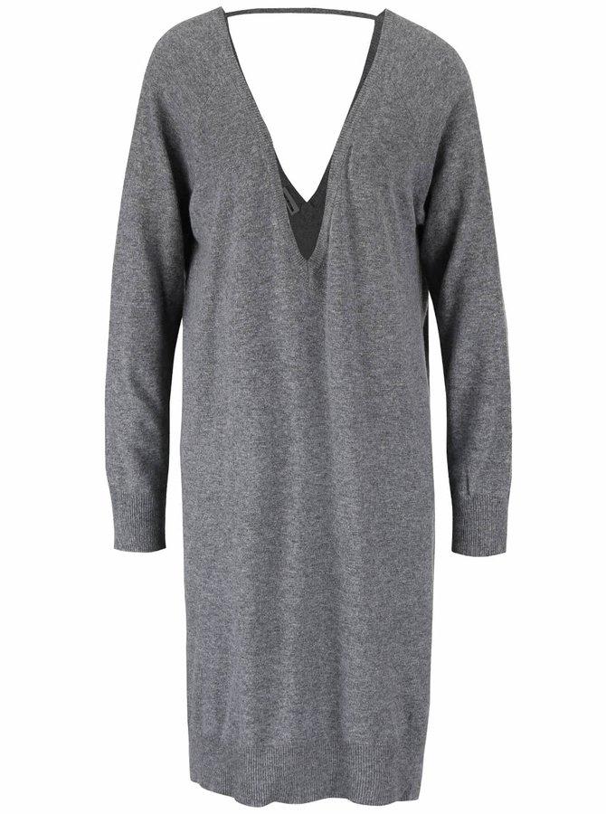 Sivé svetrové voľnejšie šaty s véčkovým výstrihom Noisy May Mena