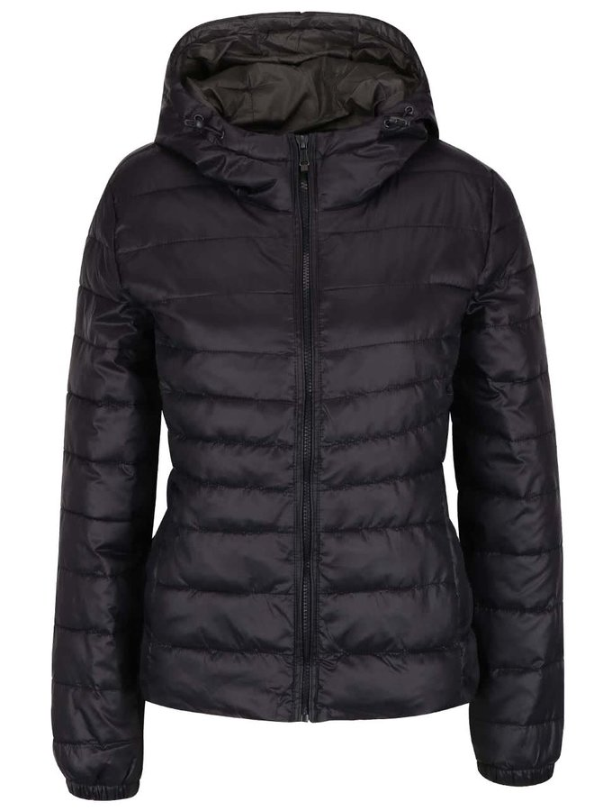 Černá prošívaná bunda s kapucí ONLY Tahoe