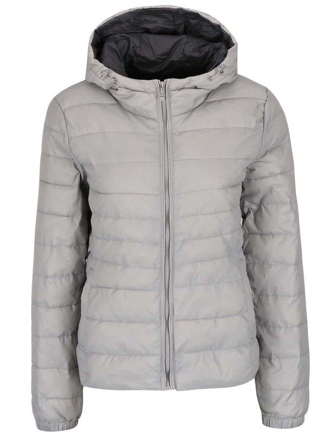 Prošívaná bunda ve stříbřené barvě s kapucí ONLY Tahoe