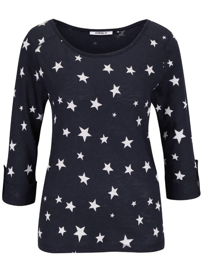 Tmavomodré tričko s potlačou hviezdičiek ONLY Jess