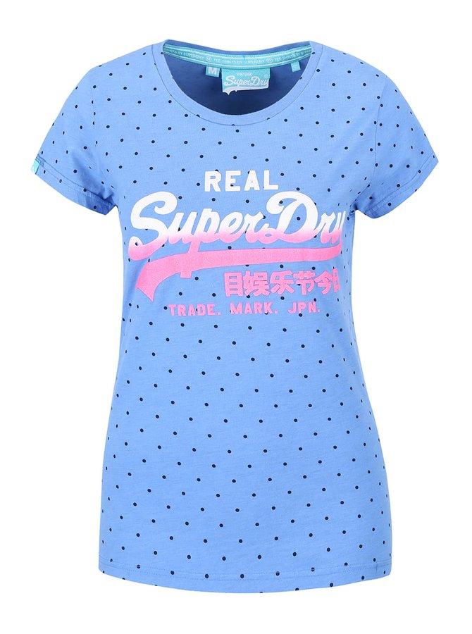 Tricou albastru Superdry cu buline