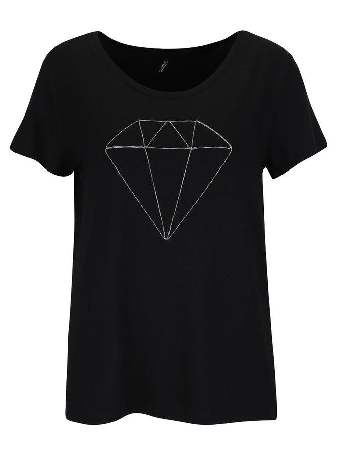 Černé tričko s aplikací ONLY Alice