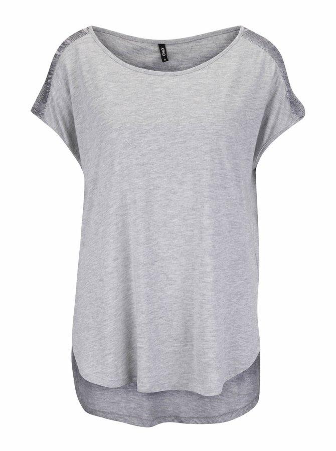 Sivé melírované tričko so strapcami na ramenách ONLY Anabella