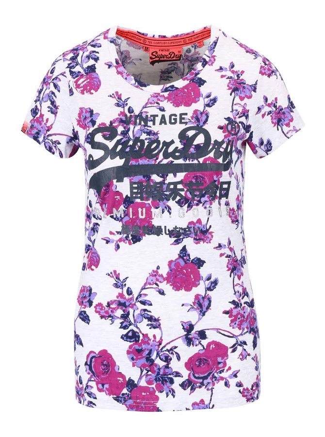 Krémové dámske kvetinové tričko s nápisom Superdry