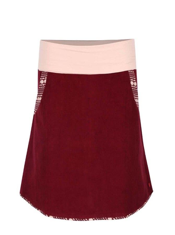 Vínová manšestrová sukně s elastickým pasem Tranquillo Batu