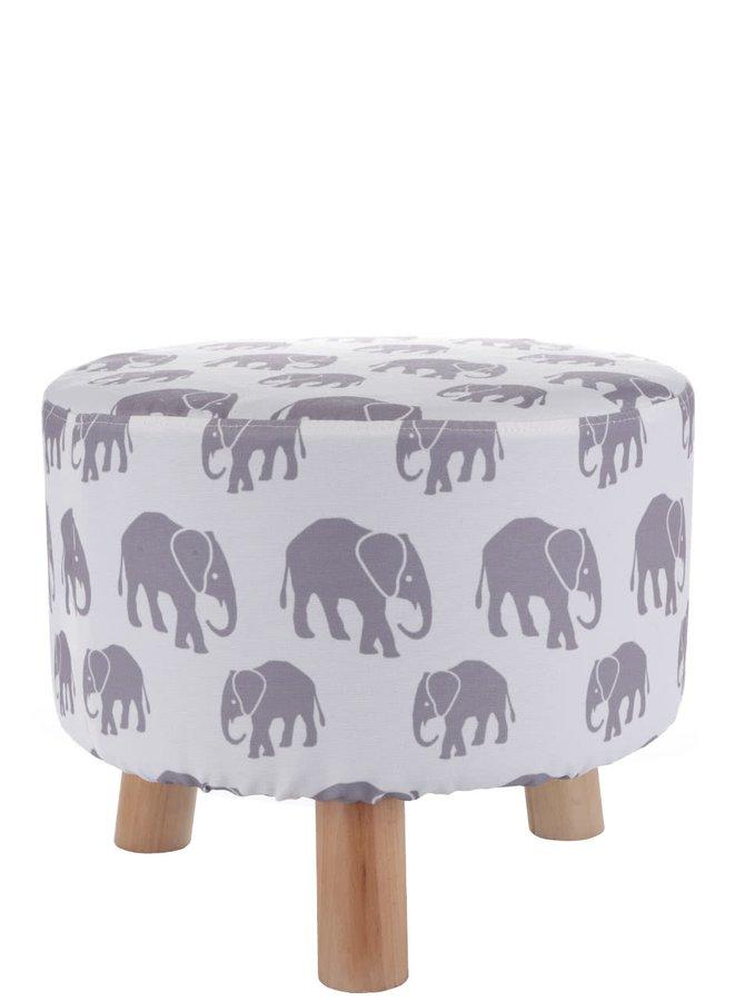 Krémová taburetka s potlačou slonov Dakls