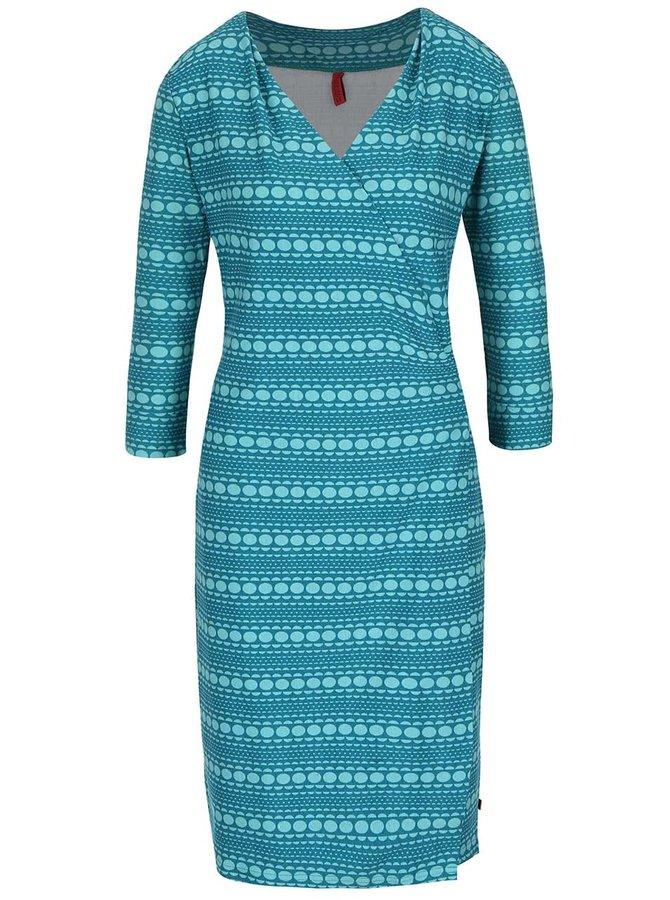 Modro-zelené vzorované zavinovací šaty Tranquillo Jamala