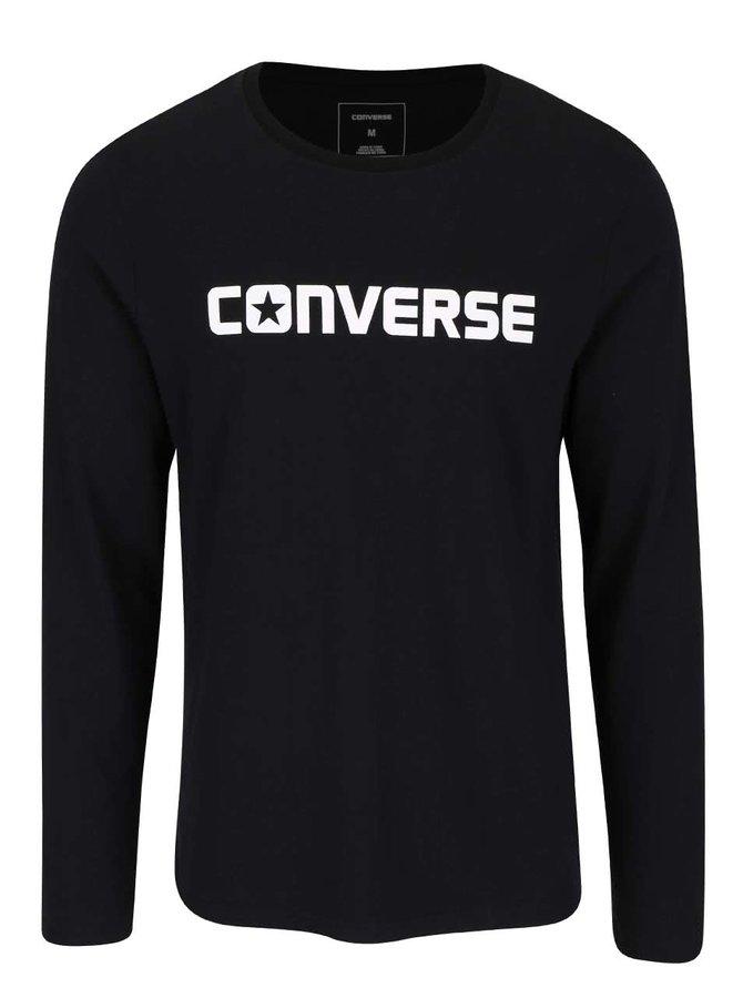 Černé pánské triko s nápisem a dlouhým rukávem Converse