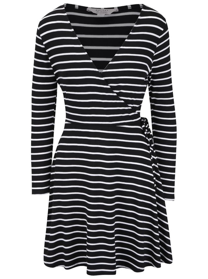 Čierne šaty s bielymi prúžkami Miss Selfridge