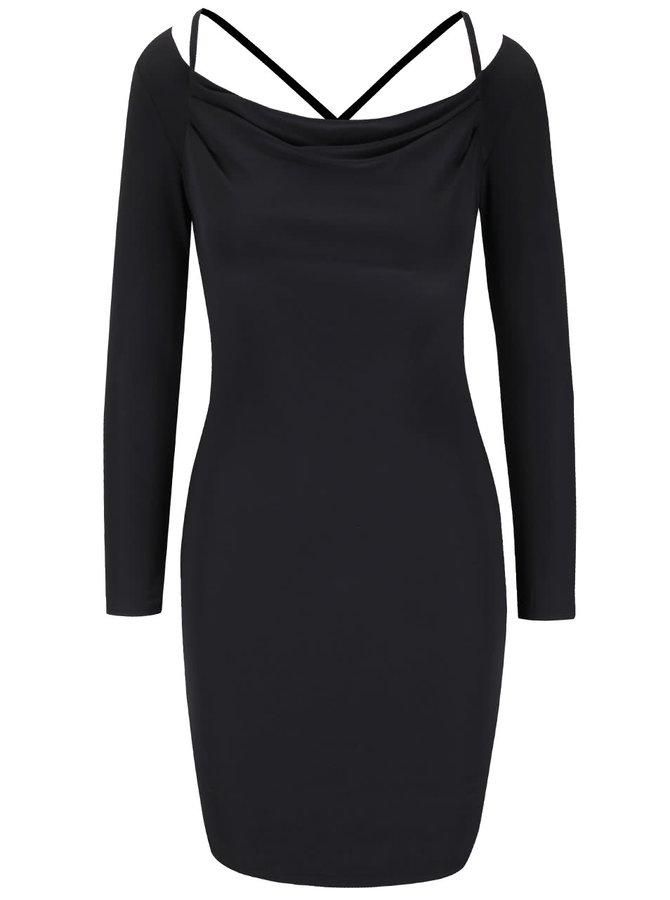 Čierne šaty s dlhým rukávom Miss Selfridge