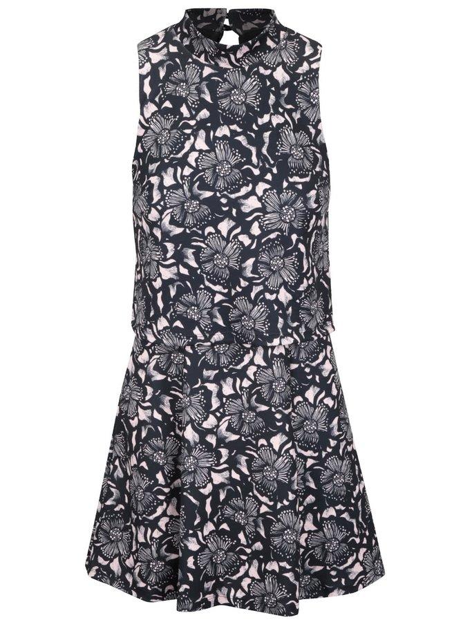 Růžovo-černé šaty s květinovým motivem Miss Selfridge