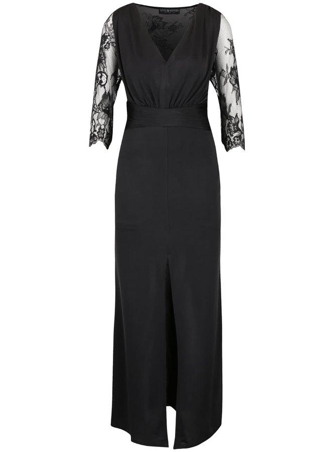 Černé dlouhé šaty s krajkovanými rukávy Little Mistress
