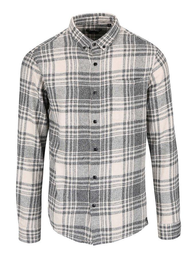 Béžovo-šedá károvaná košile ONLY & SONS Tristan