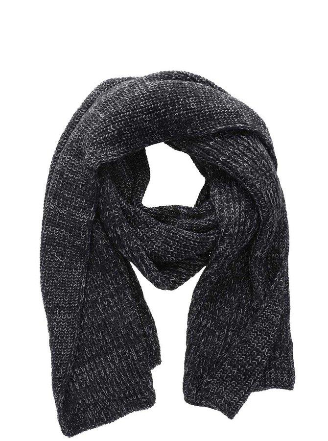 Černá žíhaná pletená šála Blend