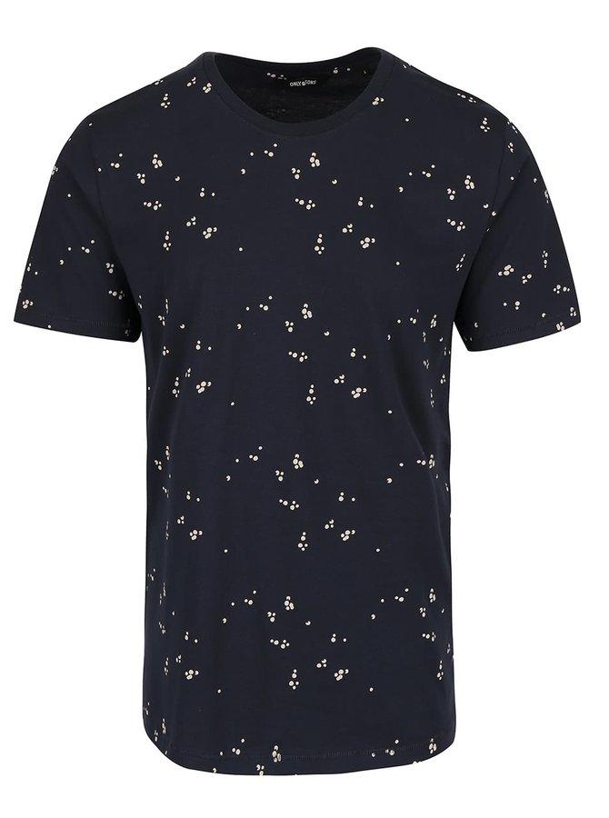 Tmavě modré triko se vzorem ONLY & SONS Nader