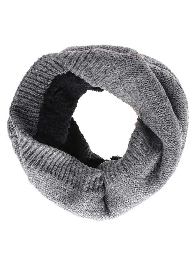 Šedá dutá šála s pleteným vzorem Blend