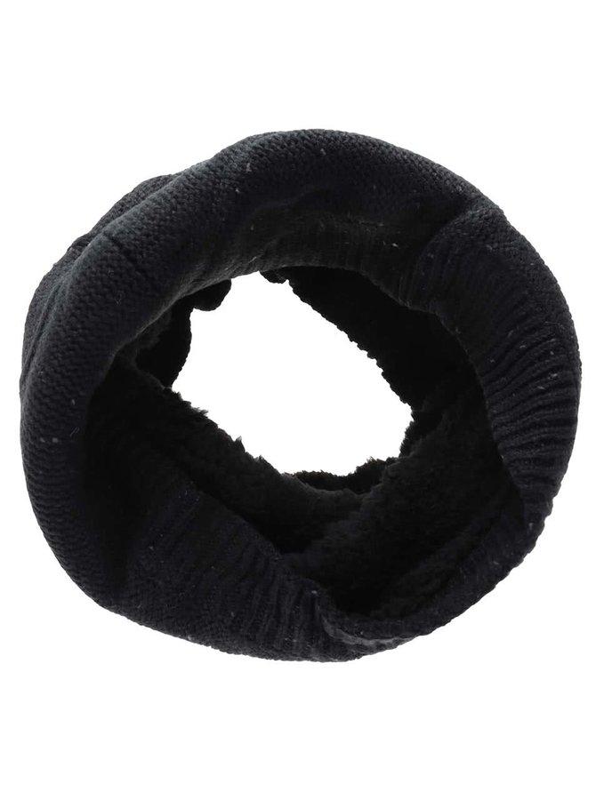 Černá dutá šála s pleteným vzorem Blend