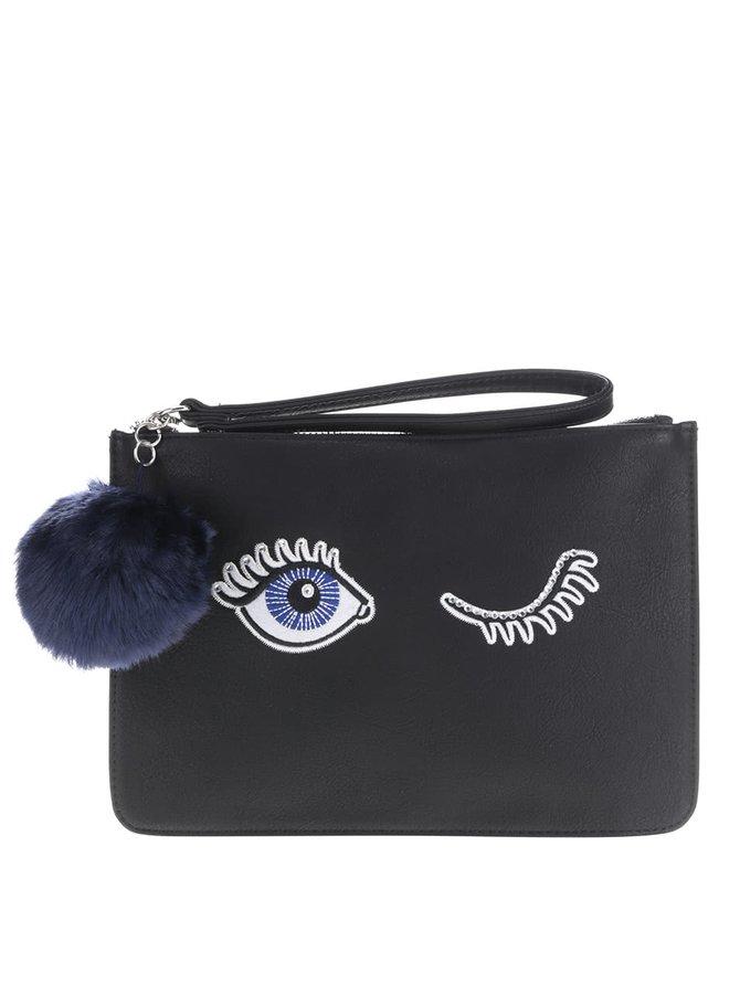 Čierna listová kabelka s výšivkou Miss Selfridge