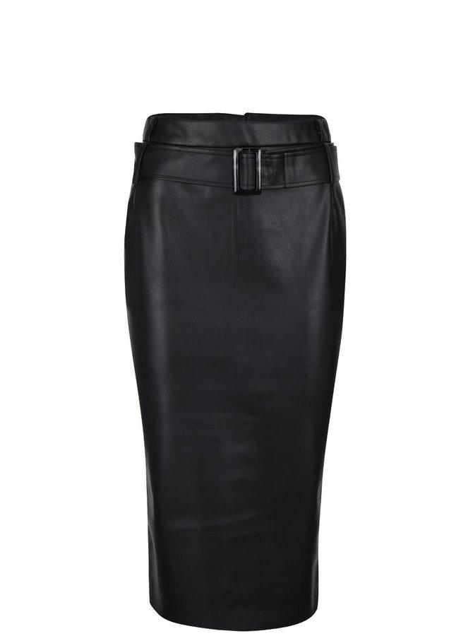 Černá koženková sukně s páskem Dorothy Perkins