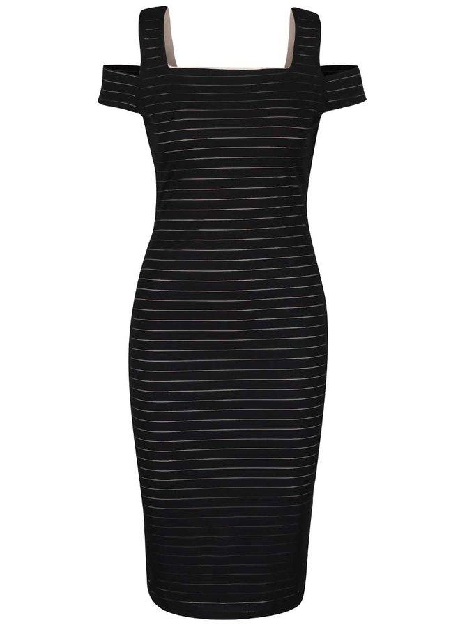 Čierne puzdrové šaty s pruhmi Dorothy Perkins