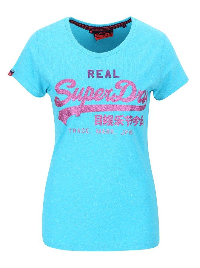 Tyrkysové dámske tričko s nápisom Superdry