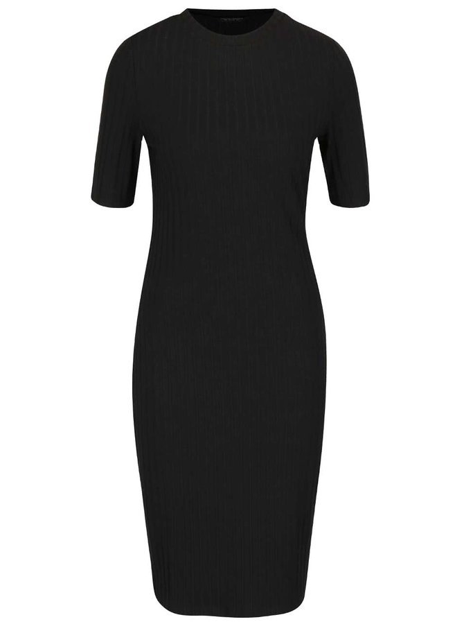 Černé žebrované šaty Dorothy Perkins